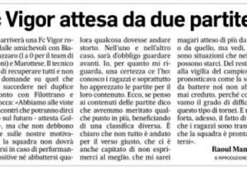 """Goldoni al Corriere Adriatico: """"Fc Vigor attesa da due partite decisive"""""""