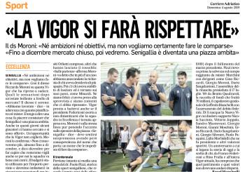 """Il ds Moroni al Corriere Adriatico: """"Non faremo una comparsa"""""""