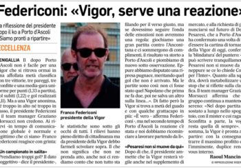 """Il presidente Federiconi al Corriere Adriatico: """" Serve una reazione"""""""